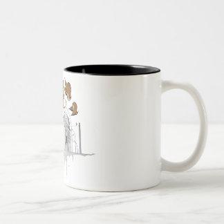 scribbles, birds, berlin, city drawing Two-Tone coffee mug