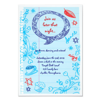 SCRIBBLES on NOTEPAPER Bat Bat Mitzvah Party Card