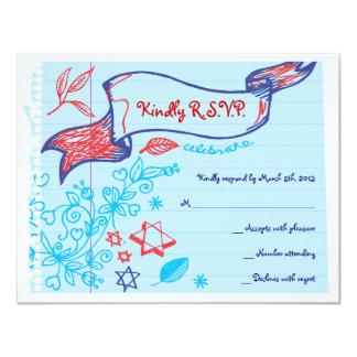SCRIBBLES on NOTEPAPER Bat Bat Mitzvah Reply Card