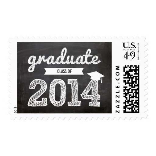 Scribbles Sketch Graduate Class Of 2014 Graduation Postage Stamps