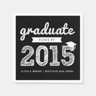 Scribbles Sketch Graduate Class Of 2015 Napkin Standard Cocktail Napkin