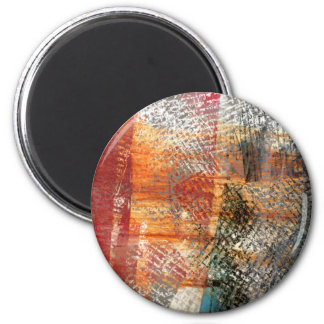 Script abstract design 2 inch round magnet
