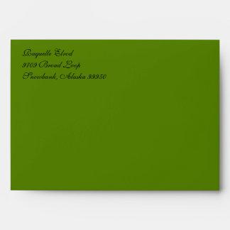 Script Avocado Green A7 Return Address Envelopes