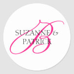 Script B Monogram Labels (Hot Pink / Black) Classic Round Sticker