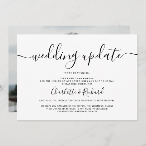 Script black and white wedding downsizing photo announcement