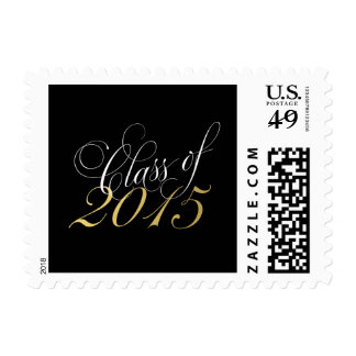Script Black Gold Class of 2015 Graduation Postage Stamps