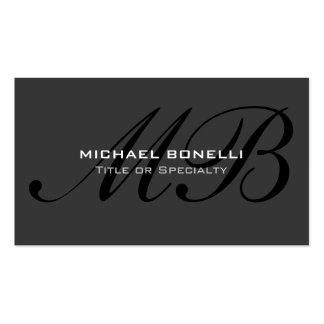 Script black monogram gray trendy business card