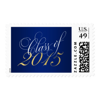 Script Blue Gold Class of 2015 Graduation Postage Stamps