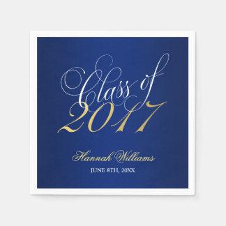 Script Blue Gold Class of 2017 Graduation Paper Napkin