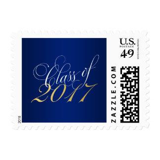 Script Blue Gold Class of 2017 Graduation Postage
