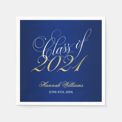 Script Blue Gold Class of 2021 Graduation Napkins