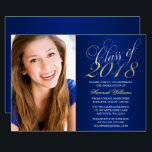 "Script Blue Gold Photo Graduation Announcement<br><div class=""desc"">An elegant script font class of 2018 graduation party announcements. Shown in gold, white and navy blue. Perfect for a high school senior graduation, college graduation or graduation party. Designs are flat printed illustrations/graphics - NOT ACTUAL GOLD FOIL. To resize and position your photo, click on the &quot;CUSTOMIZE IT&quot; button....</div>"