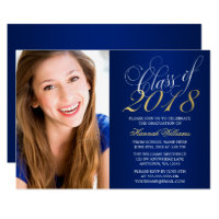 College graduation invitations announcements zazzle script blue gold photo graduation announcement filmwisefo Images