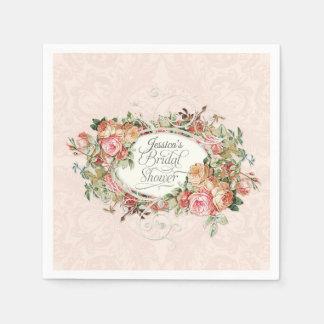 Script Bridal Shower Vintage Blush Floral Bouquet Paper Napkin