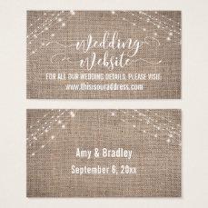 Script, Burlap & Light Strings Wedding Website Business Card