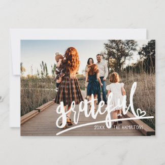 Script Calligraphy Grateful Add Photo Thanksgiving Holiday Card