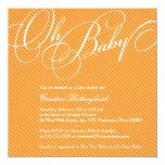 Script Diagonals in Apricot Baby Shower Invitation