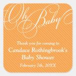 Script Diagonals in Apricot Baby Shower Sticker