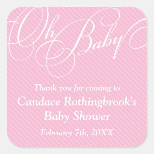 Script Diagonals in Blush Baby Shower  Sticker