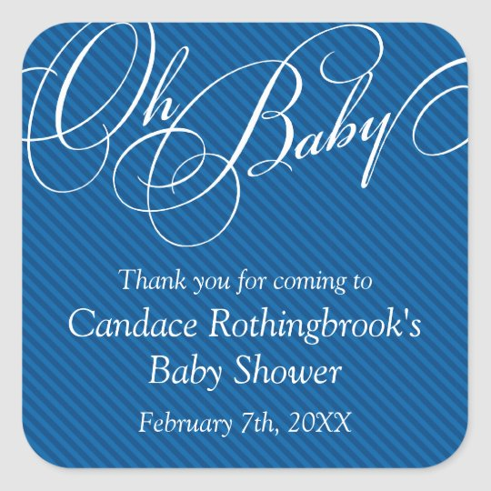 Script Diagonals in Cobalt Baby Shower  Sticker