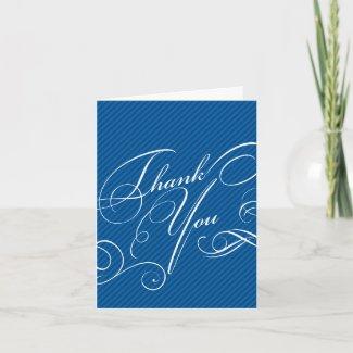 Script Diagonals in Cobalt Thank You Card card