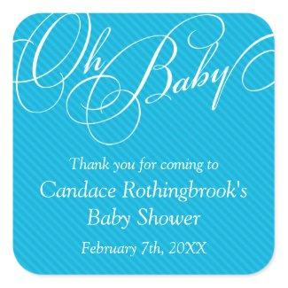 Script Diagonals in Cyan Baby Shower Sticker sticker