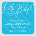 Script Diagonals in Cyan Baby Shower  Sticker