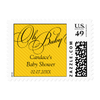 Script Diagonals in Gold Baby Shower Postage