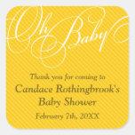 Script Diagonals in Gold Baby Shower  Sticker