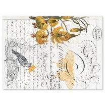 Script Digital Collage Decoupage Tissue Paper