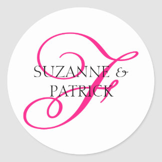 Script F Monogram Labels (Hot Pink / Black)