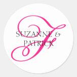 Script F Monogram Labels (Hot Pink / Black) Classic Round Sticker