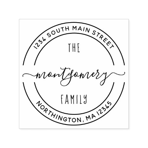 Script Family Name 10 Round Custom Return Address Self_inking Stamp