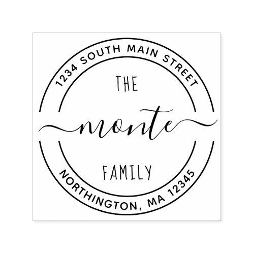 Script Family Name 5 Round Custom Return Address Self_inking Stamp