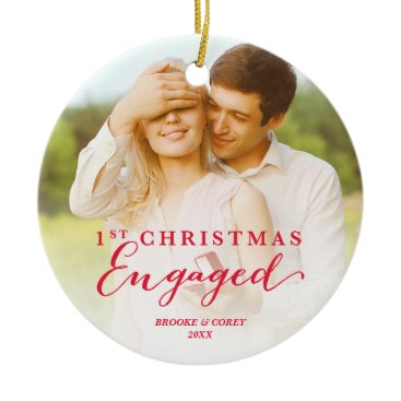 Christmas Themed Script First Christmas Engaged Holiday Photo Ceramic Ornament