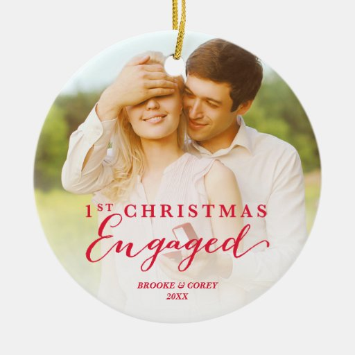 Script First Christmas Engaged Holiday Photo Ceramic Ornament