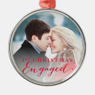 Script First Christmas Engaged Holiday Photo Metal Ornament