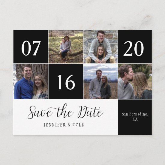 Script Five Photo Calendar Block Save The Date Announcement Postcard
