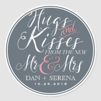 Script Font New Mr and Mrs Wedding Favor Sticker