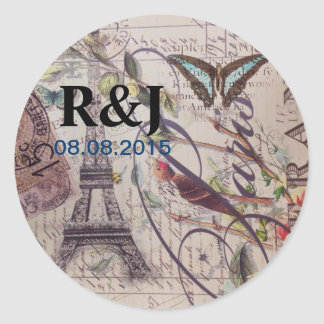 Script French country butterfly Paris Eiffel Tower Classic Round Sticker