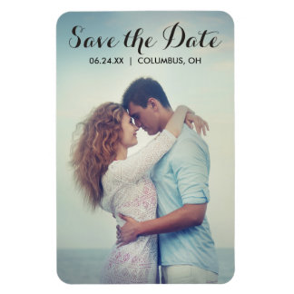 Script Full Bleed Photo Save the Date Magnet