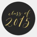 Script Glitter Gold Class of 2015 Graduation Classic Round Sticker