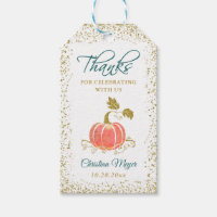 Script Glitter Pumpkin Fall Thank You Gift Tags