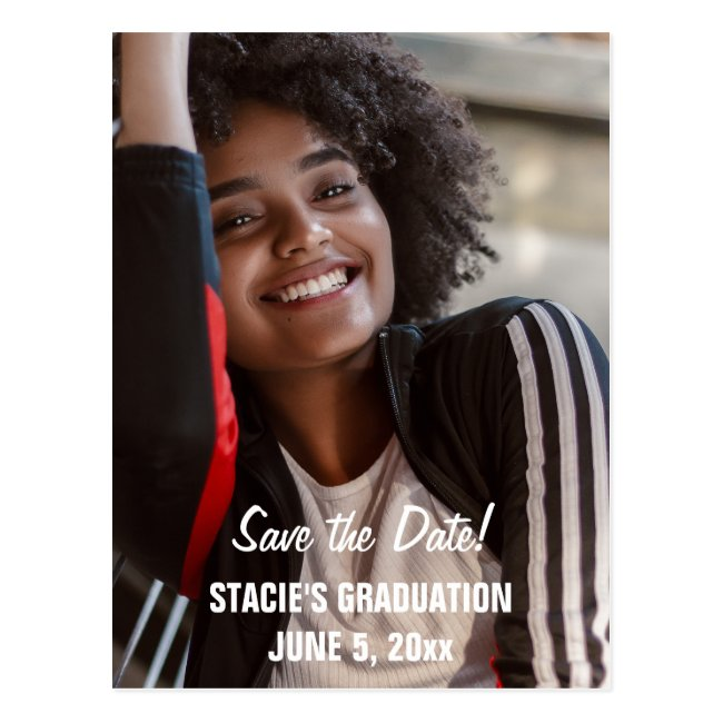 Script Graduation Save the Date Photo Postcard
