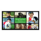 Script Green Collage Christmas 6 Photo Greeting Card