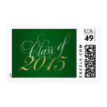 Script Green Gold Class of 2015 Graduation Postage Stamp