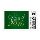 Script Green Gold Class of 2016 Graduation Postage