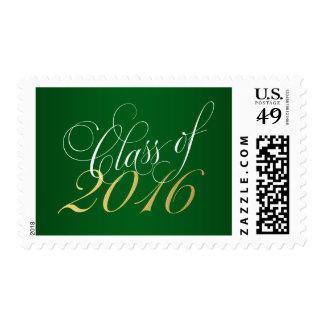 Script Green Gold Class of 2016 Graduation Postage
