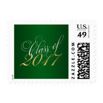 Script Green Gold Class of 2017 Graduation Postage