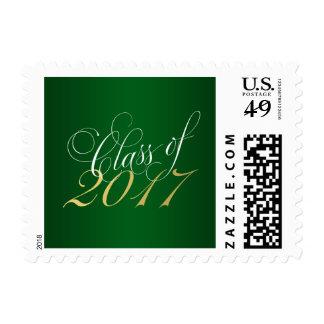Script Green Gold Class of 2017 Graduation Postage